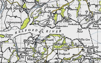 Old map of Helford Passage in 1946
