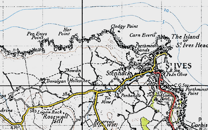 Old map of Hellesveor in 1946