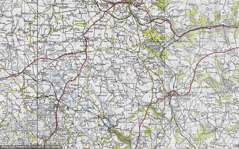 Old Map of Historic Map covering Helmen Tor in 1946