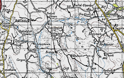 Old map of Helman Tor in 1946