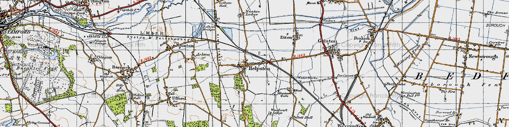 Old map of Helpston in 1946