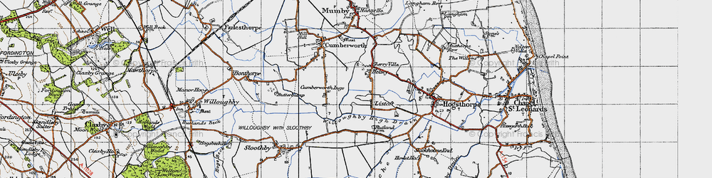 Old map of Willoughby High Drain in 1946