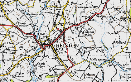 Old map of Helston in 1946