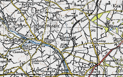 Old map of Helston Water in 1946
