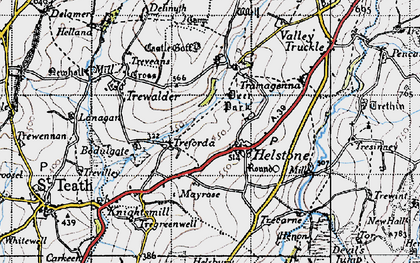 Old map of Helstone in 1946