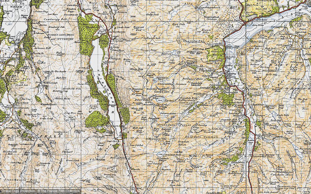 Old Map of Historic Map covering Wythburn in 1947