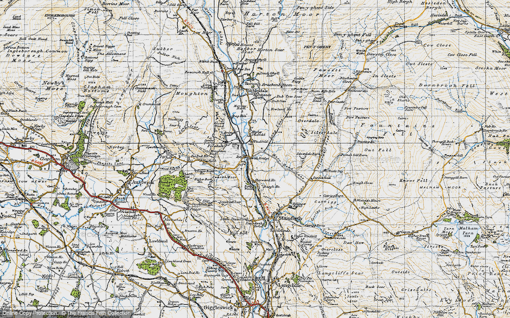 Old Map of Historic Map covering Bargh Ho in 1947
