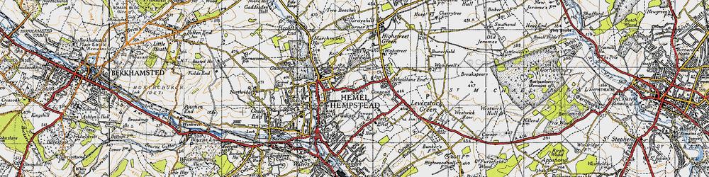 Old map of Hemel Hempstead in 1946