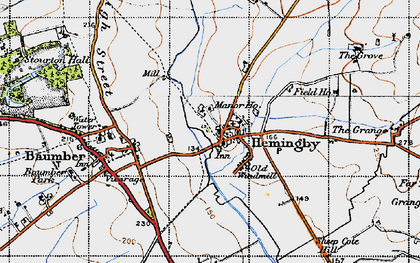 Old map of Asterby Grange in 1946