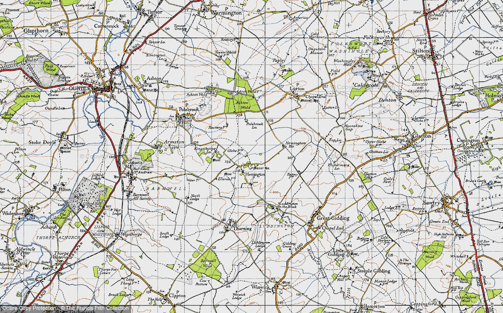 Old Map of Historic Map covering Ashton Wold in 1946
