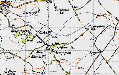Old map of Ashton Wold in 1946