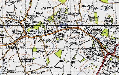 Old map of Yoxford Wood in 1946