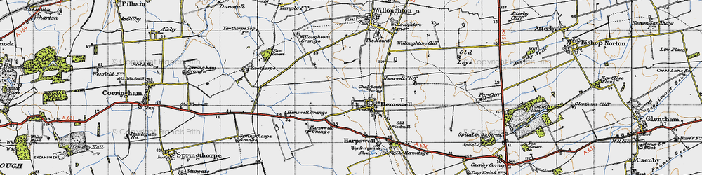 Old map of Hemswell in 1947