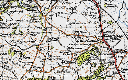 Old map of Ystrad Hall in 1947