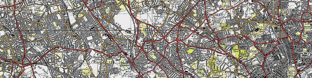 Old map of Hendon in 1945
