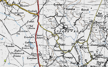 Old map of Hendra in 1946