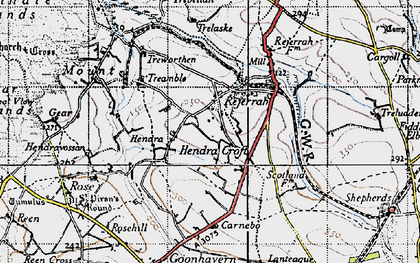 Old map of Hendra Croft in 1946