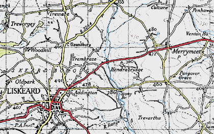 Old map of Hendrabridge in 1946