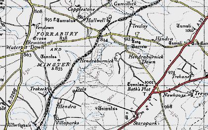 Old map of Hendraburnick in 1946
