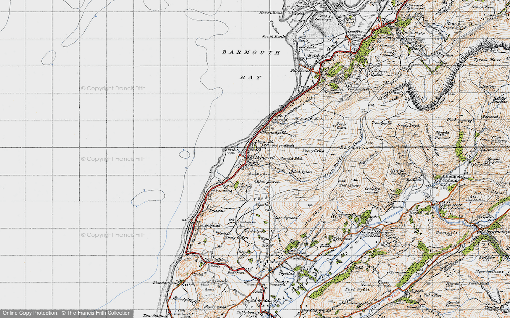 Old Map of Historic Map covering Afon Gwril in 1947
