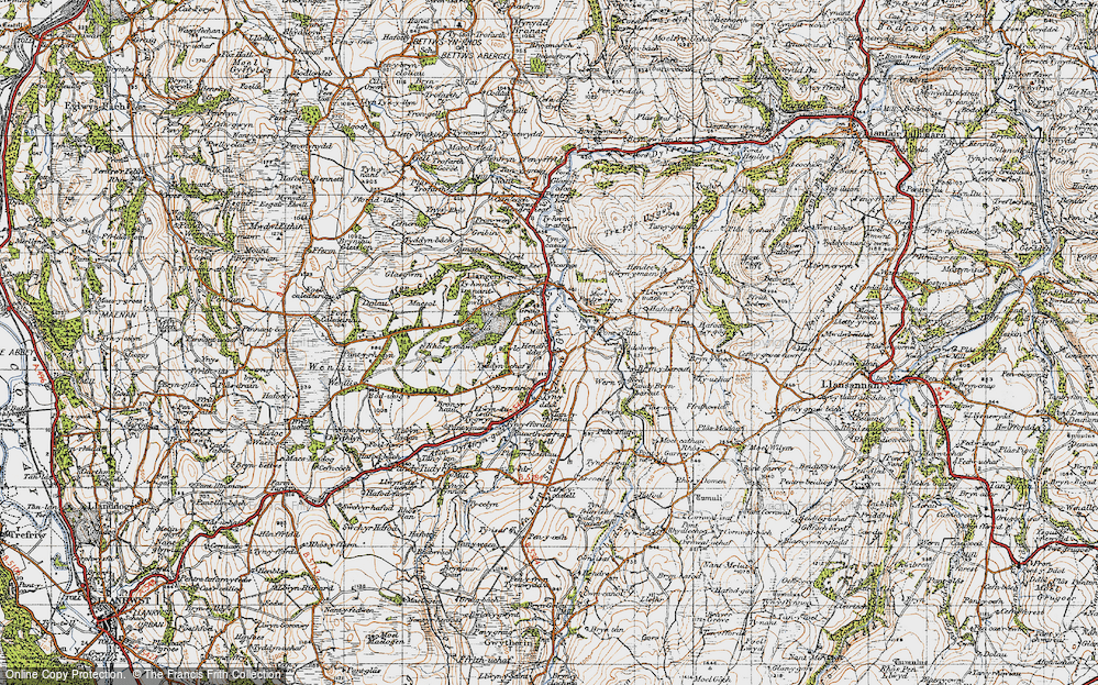 Old Map of Historic Map covering Afon Gallen in 1947