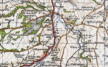Old map of Afon Gallen in 1947