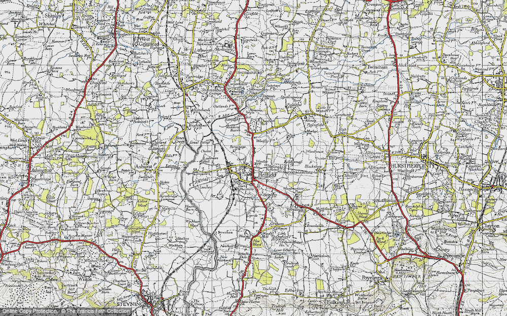 Old Map of Historic Map covering Woodhouse in 1940