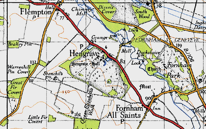 Old map of Hengrave in 1946