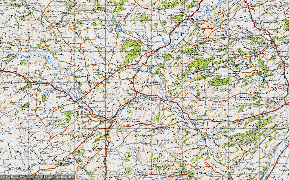 Old Map of Historic Map covering Afon Banwy neu Einion in 1947