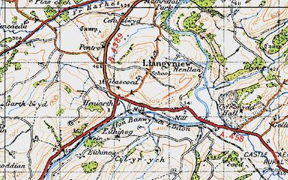 Old map of Afon Banwy neu Einion in 1947