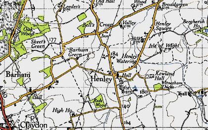 Old map of Witnesham Thicks in 1946