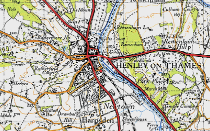 Old map of Henley-on-Thames in 1947