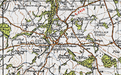 Old map of Afon y Meirchion in 1947
