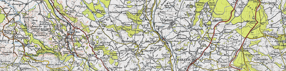 Old map of Whetcombe Barton in 1946