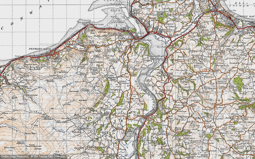 Old Map of Historic Map covering Afon Conwy in 1947