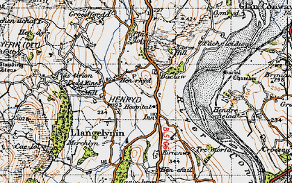 Old map of Afon Conwy in 1947
