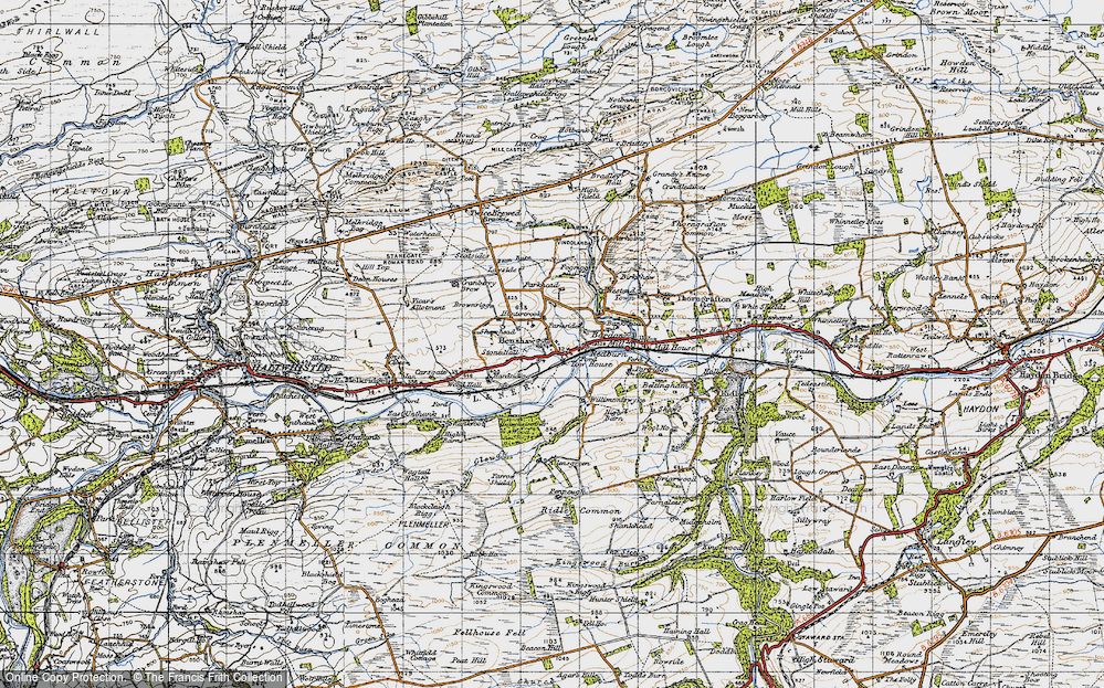 Old Map of Historic Map covering Allensgreen in 1947