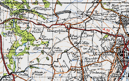 Old map of Afon Llan in 1947