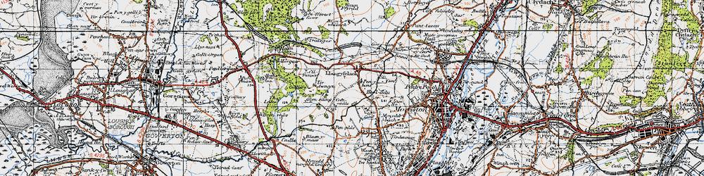Old map of Afon Llan in 1947