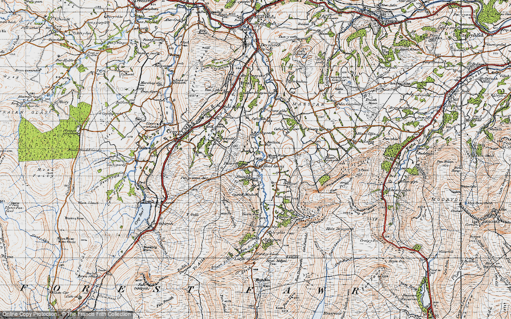 Old Map of Historic Map covering Afon Senni in 1947