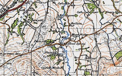 Old map of Afon Senni in 1947