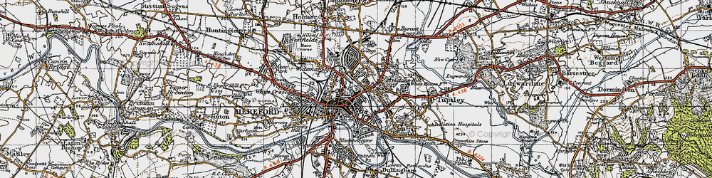 Old map of Hereford in 1947