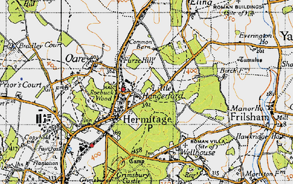 Old map of Hermitage in 1945