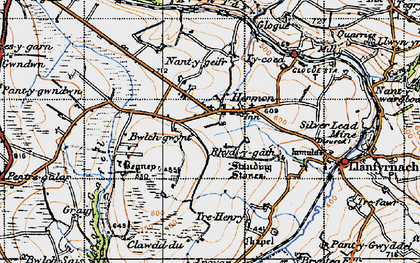 Old map of Afon Gafel in 1946