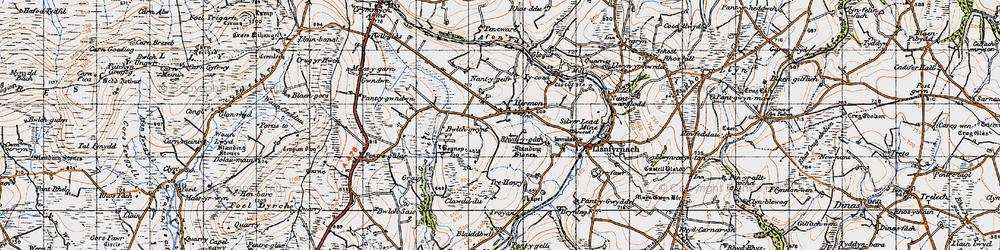 Old map of Afon Gafel in 1946