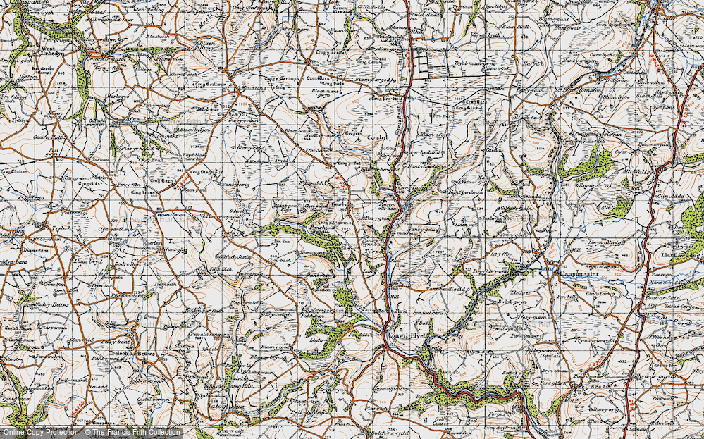 Old Map of Historic Map covering Afon Duad in 1946