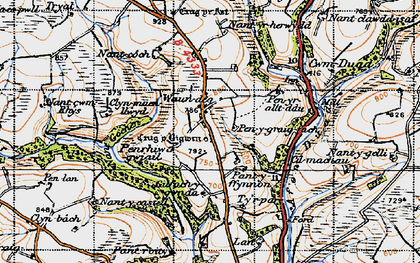Old map of Afon Duad in 1946