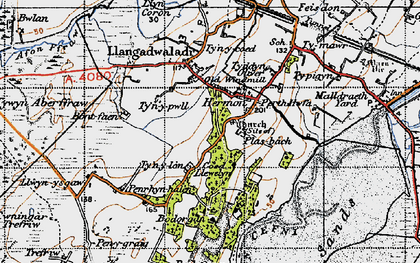 Old map of Bodorgan in 1947