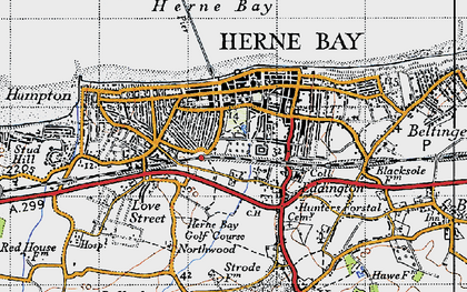 Old map of Herne Bay in 1947