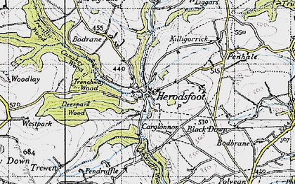 Old map of Herodsfoot in 1946